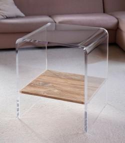 Acrylglas Tisch mit Holzboden