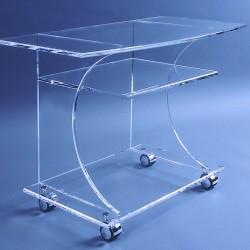 Eleganter Acrylglas-TV-Rollwagen