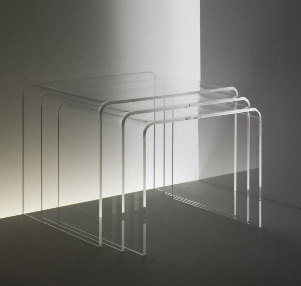 acrylglas 3 satz tisch beistelltische beistelltische. Black Bedroom Furniture Sets. Home Design Ideas